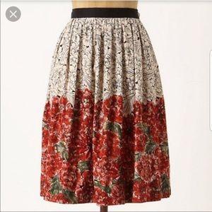 anthro Edme & Esyllte Mid Creation Floral Skirt